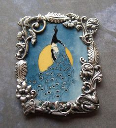 Peacock Pin Desk Art Teal Moonlit night by tinyartjewelry on Etsy, $16.50