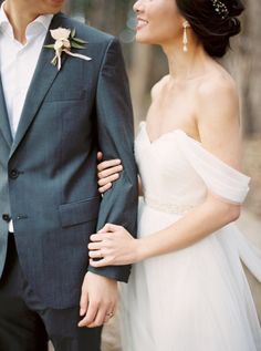 Romantic off-the-shoulder wedding dress: http://www.stylemepretty.com/california-weddings/san-francisco/2016/02/24/intimate-city-hall-wedding-2/   Photography:  Blueberry Photography - http://www.blueberryphotography.com/