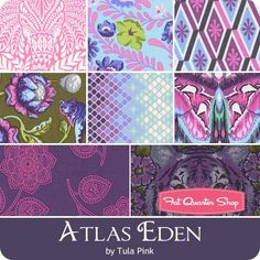 Atlas Eden Fat Quarter Bundle Tula Pink for Free Spirit Fabrics Tula Pink Fabric, Free Spirit Fabrics, Fat Quarter Shop, Fat Quarters, Quilting, Diy Projects, Fabrics, Patchwork, Handmade Crafts
