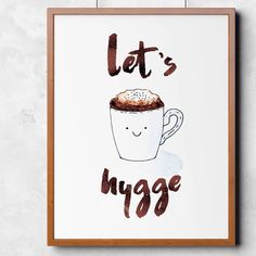 Let's hygge watercolor poster (instant download)