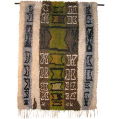 """Rug made by Kirsti Llvessalo.   hand-knotted rya   wool   4' 8""""   Finland   1957 The symbols incorporated in this rug look amazing. I would like to try something that too one day."""