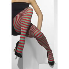 Ladies Striped Red and Green Red & White Tights Christmas Fancy Dress Accessory Elf Fancy Dress, Mary Poppins Fancy Dress, Christmas Fancy Dress, Ladies Fancy Dress, Fancy Dress Outfits, Striped Tights, Patterned Tights, Opaque Tights, Green Tights