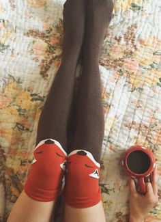 I need these in my life. Like, yesterday. fox knee high socks!!
