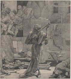 Death playing a bone fiddle in Alfred Rethel's painting Death as the Avenger (c. 1847-48)