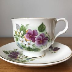 Sadler Wellington Tea Cup and Saucer, Vintage Bone China, Purple Pansy Teacup and Saucer, Floral English China by CupandOwl on Etsy
