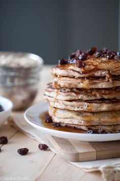 Oatmeal Cookie Pancakes by domesticfits #Pancakes #Oatmeal_Cookie #domesticfits