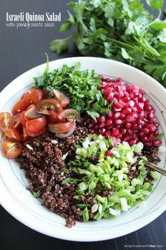 Rich and colorful, this Israeli Quinoa Salad is low on fat and full of antioxidants! For more grain-filled recipes, health tips, and interesting articles: http://www.grainsforyourbrain.org/?utm_source=pinterestutm_medium=socialutm_campaign=gffpins13