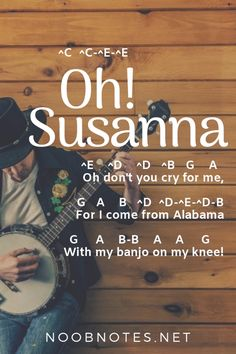 A traditional American folk tune, 'Oh! Susanna' is sung by children up and down the country, it's considered one of the top Western-style songs of all time. It's a bit trucker to play than it seems, but a great one to practice! Guitar Tabs Songs, Piano Songs, Piano Music, Guitar Chords, Guitar Scales, Piano Lessons, Music Lessons, Guitar Lessons, Free Music For Videos