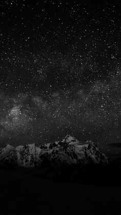 Starry Night Sky Mountain Nature Bw Dark #iPhone #7 #wallpaper