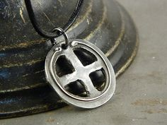 Cross Rustic Industrial Fine Silver Handmade Necklace Jewelry for Men or Women