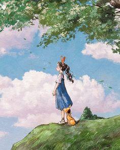 """애뽈 บน Instagram: """"<숲을 닮은 너에게> 당연한 것들에 대한 감사 - 아무리 더운 여름에도 땀 흘린 이마를 식혀줄 선선한 바람은 불고, 초록빛 아름다운 계절을 보고 걸을 수 있는 두 눈과 다리, 편히 쉴 수 있는 작은 집과 편안한 침대가 있다는 것에, 힘이 들고…"""" Pretty Art, Cute Art, Girl Cartoon, Cartoon Art, Pretty Drawings, Forest Girl, Anime Art Girl, Cute Illustration, Aesthetic Art"""