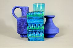 Vintage Aldo Londi BITOSSI Rimini Blu Vase Rectangle 727/15 Studio Pottery Mid Century Modern 1960s by Vinteology on Etsy
