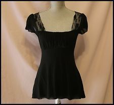 Anthropologie Blouse By Stacy Frati for Sweet Pea M Black Cap Sleeves Casual