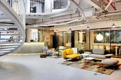 A Tour of Mixpace's Shanghai Coworking Space - Mandela - Officelovin' Office Interior Design, Office Interiors, Airport Design, Church Building, Co Working, Chinese Architecture, Lounge Seating, Coworking Space, Shanghai