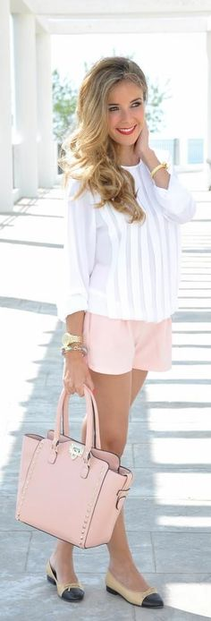 @roressclothes closet ideas #women fashion outfit #clothing style apparel Stripe Top, Pink Shorts and Pink Bag via