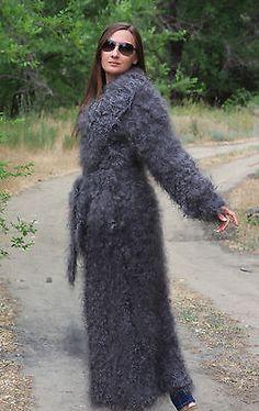 de5548d202a5a L-XL Coat long Longhair 100% Goat Down Organic Mohair Angora FETISH cashmere