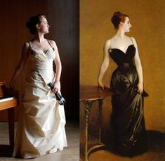 Left: Costume based on John Singer Sargent's Madame X, Alexandra Woolfson. Right: Madame X (Madame Pierre Gautreau), John Singer Sargent,1883–84. The Metropolitan Museum of Art, New York
