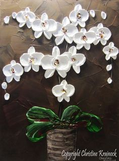 Resumen ORIGINAL pintura orquídeas flores por ChristineKrainock