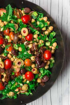 All-star Balela Salad Recipe! A wholesome, bright, flavor-packed Mediterranean chickpea salad w/ chopped veggies, fresh herbs, a zesty dressing and more!