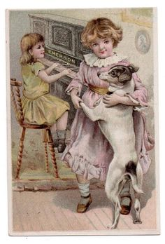 Emerson Piano trade card Music Musical Instruments   Dancing with the Dog #EmersonPiano