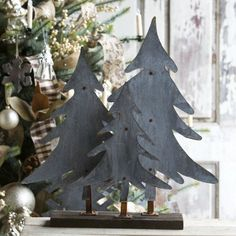 Our Large Aged Tin Trees add a vintage look to your Christmas décor. They would look beautiful as a centerpiece or on a mantle. Metal Christmas Tree, Christmas Crafts, Christmas Decorations, Christmas Décor, Xmas Tree, Christmas Ideas, Antique Farmhouse, Farmhouse Decor, Seasonal Decor