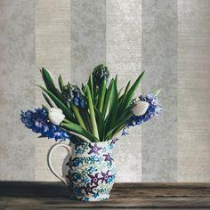 75912 Gray Pearl Cream Striped Portofino Wallpaper