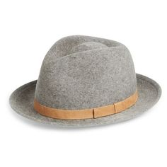Mr. Kim 'Francis' Brushed Wool Fedora ($137) ❤ liked on Polyvore featuring men's fashion, men's accessories, men's hats, heather grey, wool fedora hat, fedora hat, wool fedora, wool hat ve woolen hat