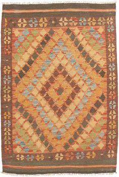 Afghan Old Kelim er håndvevede av turkmenere i det nordlige Afghanistan. Teppene lages med tradisjonell kelim-teknikk, og det blir brukt en naturlig fargeskala med geometriske symboler og oktagoner. Les mer om Afghan-tepper her... Les mer om kelim-tepper her...