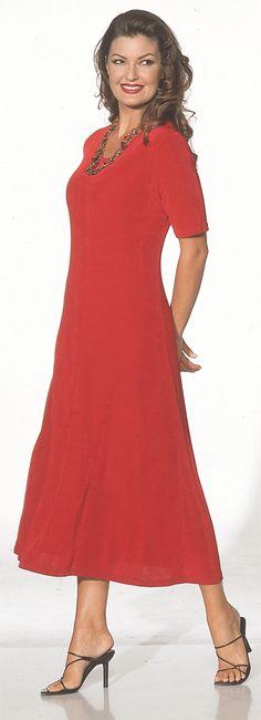 Long Jewel Neck A-Line Dress - Short Sleeve