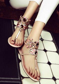 478d0fa701fd PINTEREST   MUSKAZJAHAN - Pink Round Toe Flat Zipper Rhinestone Bohemian  Fas…