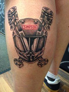 Motocross helmet and skull pistons