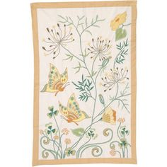 Serene butterflies flutter by in a colourful needlework garden. Exquisite hand-embroidery brings the curved stems, flowers and graceful wings alive. Exclusive to Ten Thousand Villages.