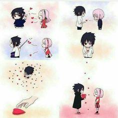 Sakura and sasukes lovestory in one pic Anime Naruto, Kakashi Sensei, Naruto Cute, Naruto Shippuden Sasuke, Naruto And Sasuke, Anime Manga, Hinata, Naruto Images, Naruto Pictures