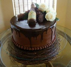 Cake with wine bottle