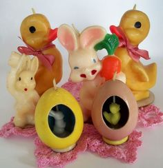 An Easter collection: Gurley candles. I remember these.
