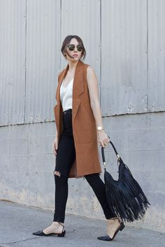 Vest Outfits how to wear long vests just trendy girls Vest Outfits. Here is Vest Outfits for you. Vest Outfits how to wear long vests ju. Sleeveless Blazer Outfit, Long Vest Outfit, Sleeveless Trench Coat, Long Vest Sleeveless, Sleevless Blazer, Dress Vest, Vest Coat, Dress Shoes, Shoes Heels