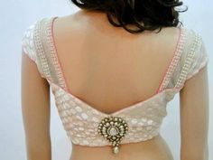 Low Back Blouse with a kundan stud in the middle #blouse #getstyleathome
