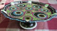 Upcycled vintage metal pedestal plate hand painted by paintallday, $28.00