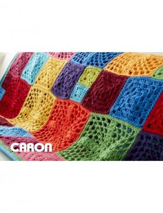 Caron 100 Motif Afghan - free crochet pattern with diagrams and layout at Yarnspirations.