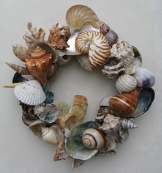 This shell wreath used found shells from Oregon & California beaches.