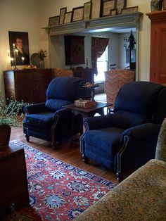 Cheap Sectional Sofas Navy Blue recliners from Smith Brothers of Berne picturetrail
