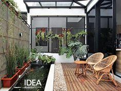 Image may contain: plant Tropical Backyard Landscaping, Small Backyard Design, Home Garden Design, Backyard Garden Design, Ponds Backyard, Landscaping Ideas, Minimal House Design, House Outside Design, Small Balcony Garden