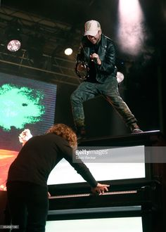 Pianist Drew Brown (L) and singer Ryan Tedder of OneRepublic perform during the Spring Fling concert at the Red Rock Resort on March 17, 2017 in Las Vegas, Nevada.