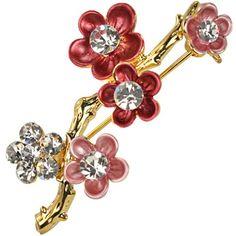Sakura Cherry Blossom Branch Diamante Gold-Tone Brooch Pin $15.45 (save $23.54) + Free Shipping