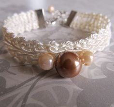 Bracelet, Vintage Lace Trim and Pearls, White, Beige, Tan, Upcycled | wingsofflutter - Jewelry on ArtFire