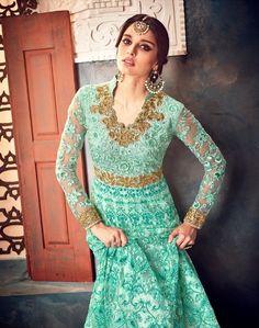 TOP BUTTERFLY NET INNER & BOTTOM SANTOON DUPATTA CHIFFON Salwar Suits, Salwar Kameez, Ethnic Dress, Indian Suits, Bridal Lehenga, Indian Fashion, Party Wear, Butterfly Net, Topshop