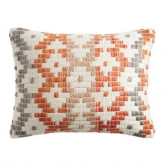 Rust, Ivory And Gray Geo Woven Indoor Outdoor Lumbar Pillow - v1 Orange Throw Pillows, Throw Cushions, Toss Pillows, Off White Bedrooms, Unique Living Room Furniture, Lumbar Throw Pillow, Family Room Decorating, World Market, Decorative Pillows
