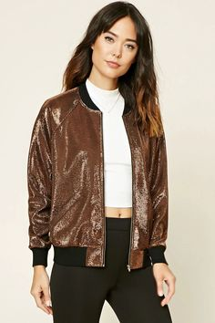 Forever 21 Contemporary - This bomber jacket is crafted from a textured metallic fabric and features a high-polish zippered front, contrast ribbed trim, long sleeves, and slanted front pockets.