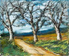 Maurice de Vlaminck (French, 1876-1958), Chemin de campagne [Country road]. Gouache on paper, 36.5 x 45 cm.