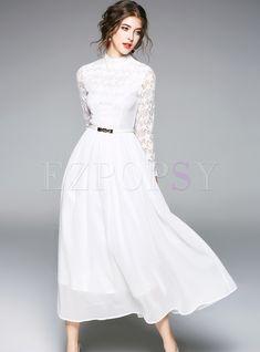 White Elegant Lace Hollow Maxi Dress   Ezpopsy.com White Formal Gowns, White Gowns, Little White Dresses, White Maxi Dresses, Pretty Dresses, Beautiful Dresses, Simple Long White Dress, Elegant White Dress, White Long Sleeve Dress